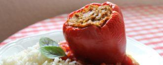 Gefüllte Paprika mit Grünkern vegan