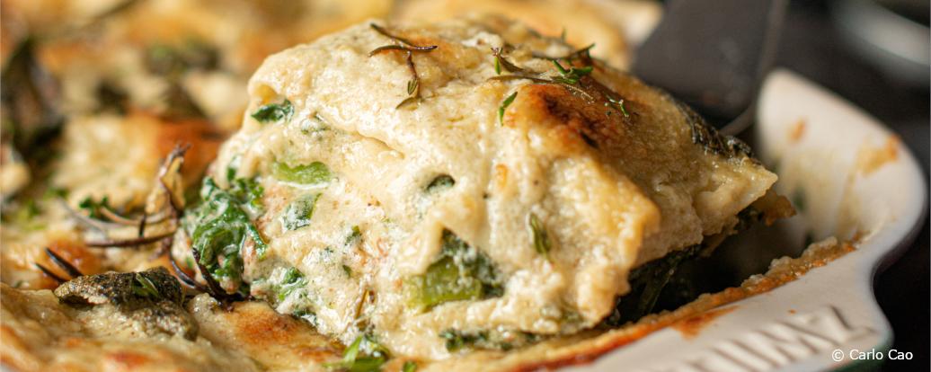 Spinat-Grünkohl-Lasagne mit Kräutern