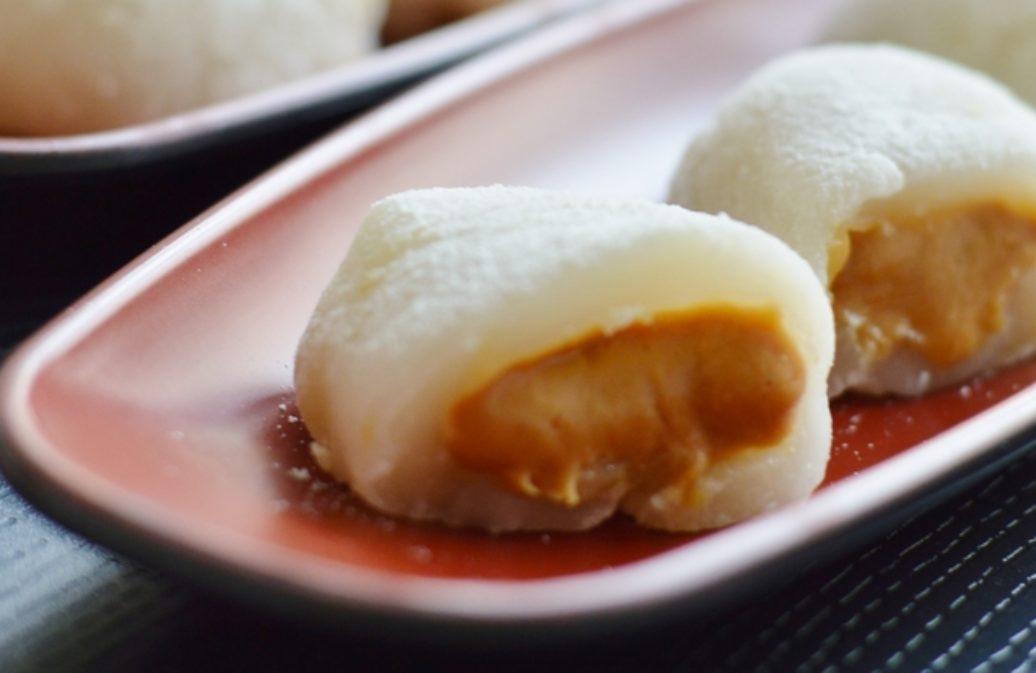 Japanische Mochi mit Erdnussbutterfüllung