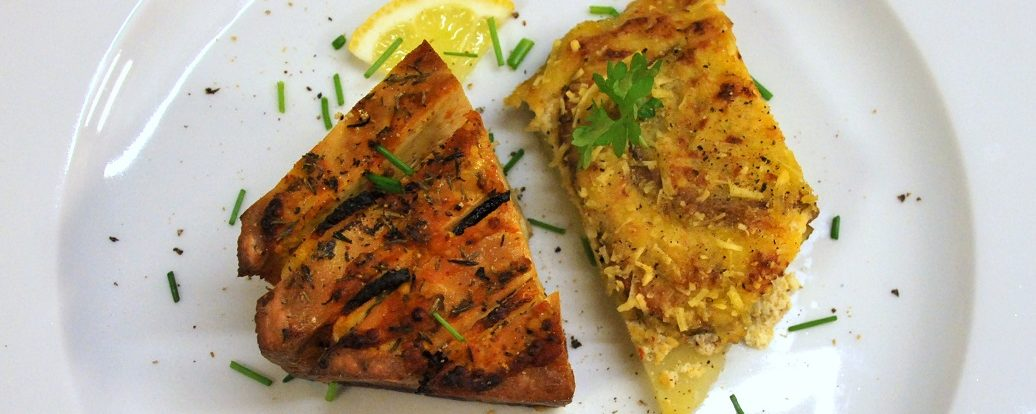 Gebackener Räuchertofu mit Kartoffelgratin